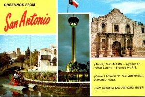 Texas San Antonio Greetings Showing Alamo Tower Of Americas and San Antonio R...