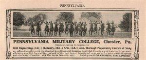 1907 Original Print Ad Pennsylvania Military College Soldiers Horses Pa. 2P1-6