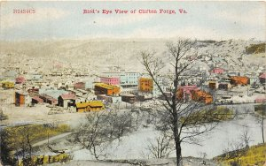 F74/ Clifton Forge Virginia Postcard 1910 Birdseye View Railroad Depot
