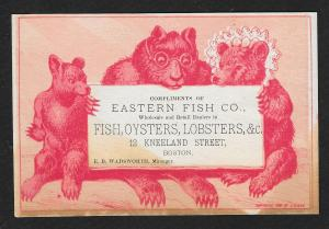 VICTORIAN TRADE CARD Eastern Fish Co Bear People