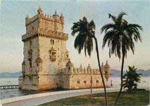 Postcard Portugal Lisboa belem tower architecture engineering palms sea-side