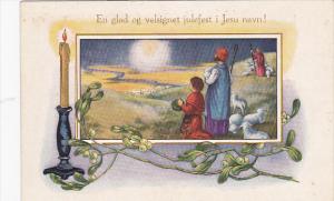 En glad og velsignet julefest i Jesu navn! Scene of pasters in the field with...