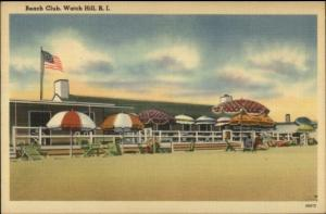 Wickford RI Beach Club Linen Postcard