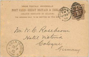 Entier Postal Stationery Postal Great Britain Great Britain 1889 London to Co...