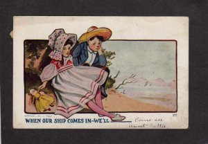 Boy Girl Beach When our ship comes in We'll J Tully Postcard 1913