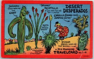 1944 Artist-Signed REG MANNING TRAVEL CARD No 3-41 Desert Desperados Linen
