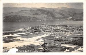Sandpoint Idaho Aerial View~Town-Farm Fields-Pend Oreille River~1950s RPPC