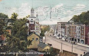 Arkansas Hot Springs Looking Up Central Avenue 1908