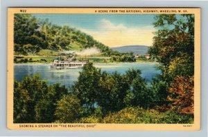 Wheeling WV, Scenic Ohio River, Steamer Riverboat, Linen West Virginia Postcard