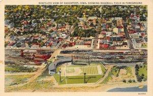 LP99  Baseball Field  Davenport  Iowa Postcard Bird's Eye View