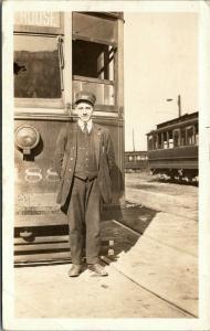 Buffalo New York~Close Up Trolley Conductor~Hat #2230~Train Yard~1916 RPPC