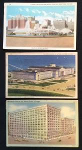 Postcards (3) Hotels Buildings IL 3 Used 2 Linen 1 Non Unused LB