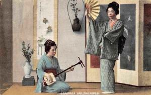 Japanese Dancing Girls Geishas Shamisen musical instrument and Hand Fan Postcard