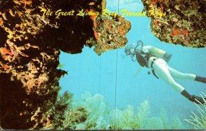 Florida Keys Scuba Diver Exploring Great Living Reef 1986
