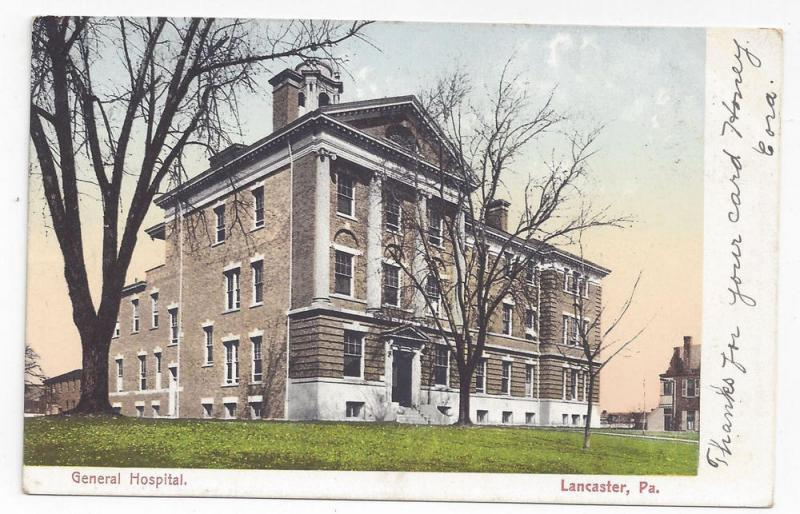 Lancaster PA General Hospital 1907 American News Co Postcard