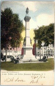 1905 Binghamton, New York Postcard Soldiers & Sailors Monument Statue Park