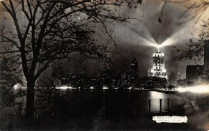 Vintage USA B&W RP Postcard, A Night View from Lincoln Park, Chicago BB1