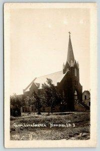 Howard South Dakota~German Lutheran Church~Wash Tub on Lawn~House~1915 RPPC