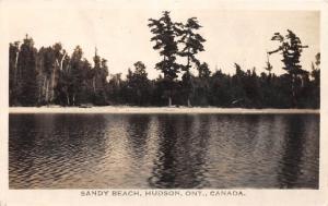 E63/ Hudson Ontario Canada RPPC Postcard c40s Sandy Beach Lake