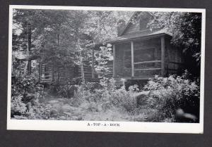 ME A Top A Rock Cabins Yorks Log Village Loon Lake Rangeley Maine Postcard PC