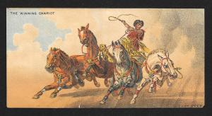 VICTORIAN TRADE CARD Wanamaker & Brown The Winning Chariot Horses Chariot c/1885