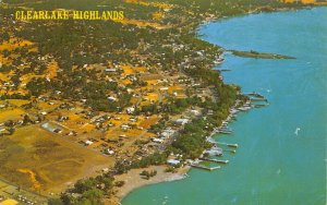 Clear Lake California~Clearlake Highlands Resort Area~Birdseye View~1960s PC