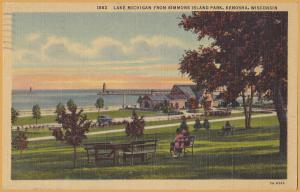 Kenosha, WIS., Lake Michigan from Simmons Park - 1950