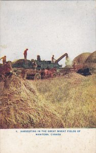 Harvesting In The Great Wheat Fields Of Manitoba Canada