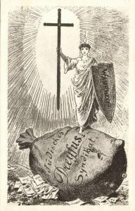 Dreyfus Affair Caricature, JUDAICA, Jewish Dreyfus Syndicate, Truth on Money Bag