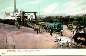 Vtg Postcard c 1907 Oakland, CA Water Front Scene Steamboat, Horse-Drawn Carts