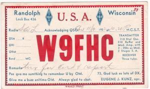 QSL, W9HFC, Randolph, WI w/Horicon & Portage RPO pmk, 1932