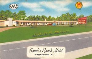 Greensboro North Carolina Smith Ranch Motel Street View Antique Postcard K53876