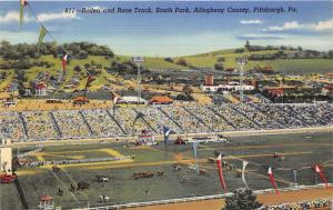 Pittsburgh Pennsylvania~South Park~Rodeo & Race Track~Horse Races~1940s Linen