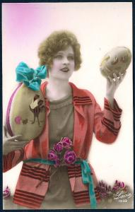 Lady Giant Easter Eggs Hand Color REAL PHOTO unused c1920's