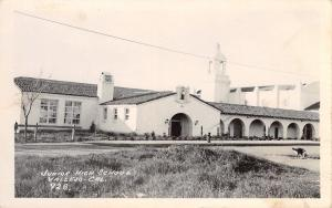 Vallejo California~Junior High School~Dog Sniff Puddle in Street~1940 RPPC