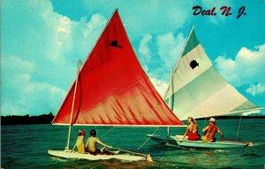 Geschäft Neu Trikot Nj Segeln Bootfahrt Szene Mit Kinder Unp Vtg Chrom Postkarte