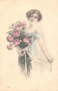 McMein~Beautiful Young Woman in Blue~Dozen Pink Roses in Arms~Handcolored G&B