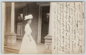Terre Haute Indiana~KSM: Young Lady in White Climbs Porch Steps~Hat~1908 RPPC