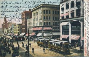 Trolley & Bicycle Traffic on Main Street looking West Rochester New York pm 1906