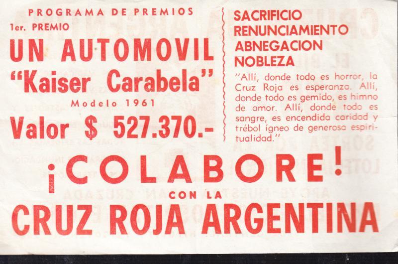 Cruz Roja Argentina 1961 Ticket and Announcement