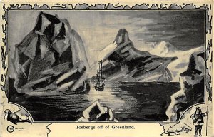 Exploration Post Card Icebergs off of Greenland Unused