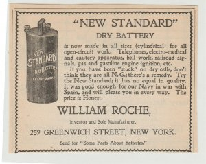 Dry Battery Made by William Roche 1899 Print Ad, 259 Greenwich St, New York
