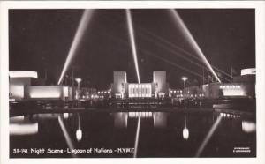 New York World's Fair Night Scene Lagoon Of Nations Real Photo