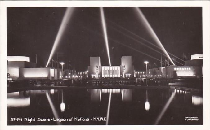 New York World's Fair Night Scene Lagoon Of Nations Real Photo