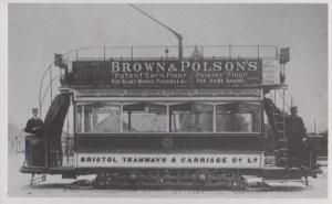 Brown & Polsons Flour Home Baking Bakery Advertising Bristol Tram Bus Postcard