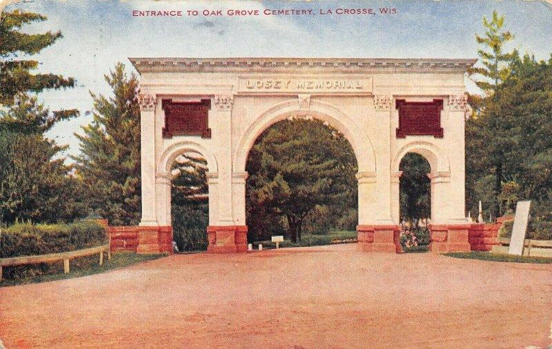 La Crosse Wisconsin~Oak Grove Cemetery Losey Memorial Entrance Gate~1912 PC