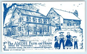 LANCASTER, PA Pennsylvania   The AMISH FARM &  HOUSE 1957  Roadside Postcard