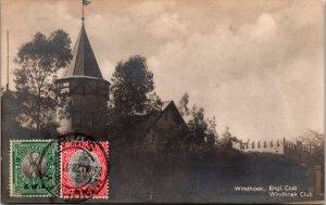 Windhoek South Africa RPPC Postcard used 1928 Multi Franked
