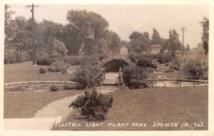 Spencer Iowa~Electric Light Plant Park~Rustic Bridge~Lily Pad Pond~1934 RPPC