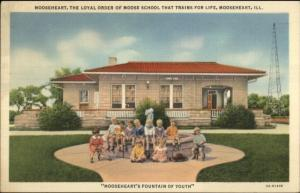 Mooseheart IL Fountain of Youth NOTICE TO APPEAR on Backside Linen Postcard